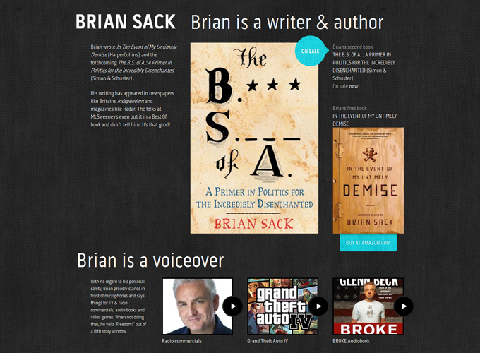 Brian Sack Brian Sack is an author and a writer and a person who goes on television Black in Web Design: 50 Beautiful Examples