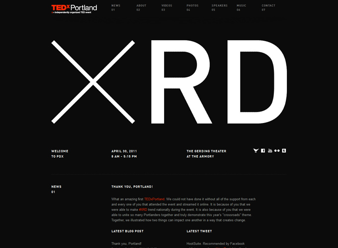 TEDxPortland Black in Web Design: 50 Beautiful Examples