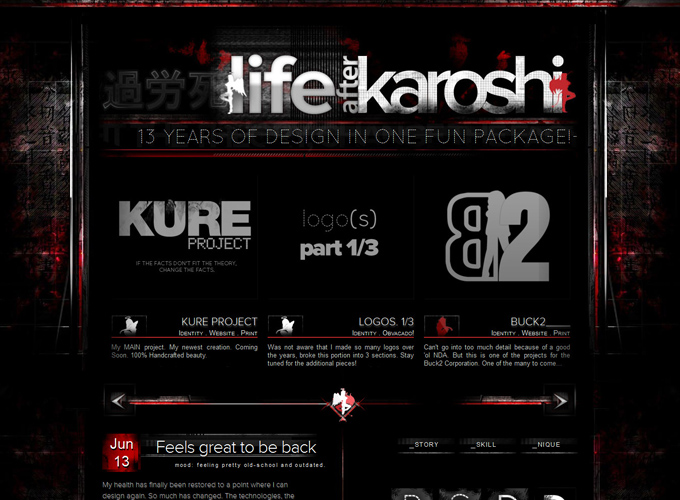 Life after Karoshi Black in Web Design: 50 Beautiful Examples