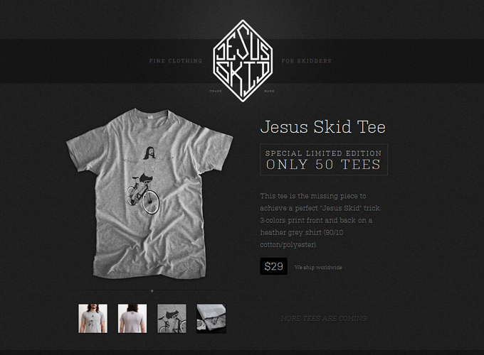 Jesus Skid Urban Cycling Clothing Home Black in Web Design: 50 Beautiful Examples